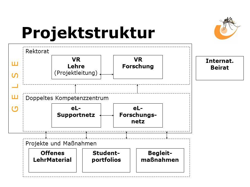 Projektstruktur Rektorat VR Lehre (Projektleitung) VR Forschung Projekte und Maßnahmen Doppeltes Kompetenzzentrum eL- Supportnetz eL- Forschungs- netz Offenes LehrMaterial Student- portfolios Begleit- maßnahmen Internat.