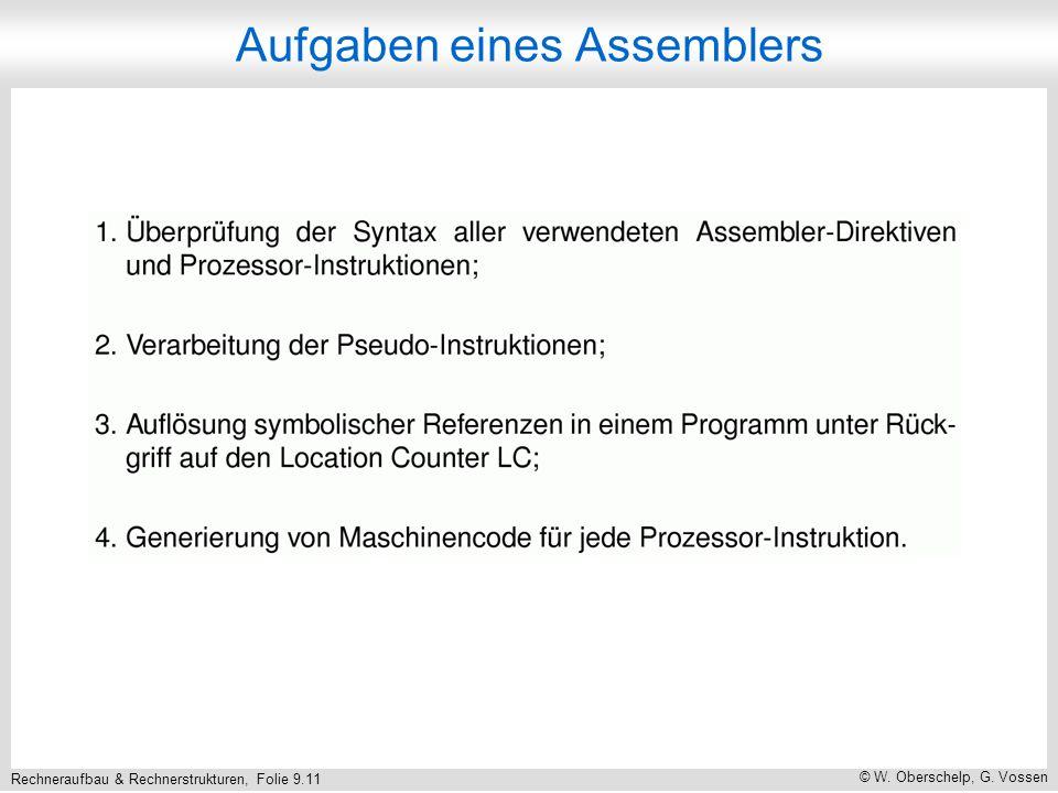 Rechneraufbau & Rechnerstrukturen, Folie 9.11 © W. Oberschelp, G. Vossen Aufgaben eines Assemblers