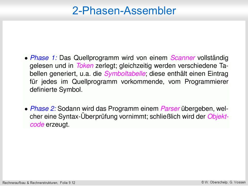 Rechneraufbau & Rechnerstrukturen, Folie 9.12 © W. Oberschelp, G. Vossen 2-Phasen-Assembler