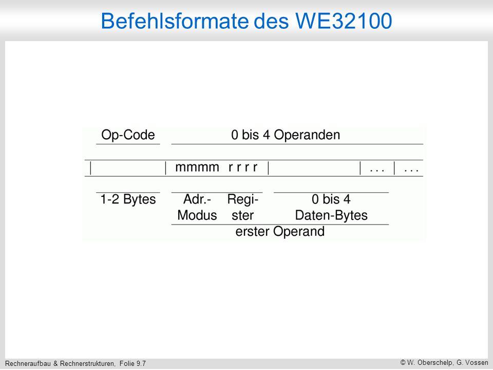 Rechneraufbau & Rechnerstrukturen, Folie 9.7 © W. Oberschelp, G. Vossen Befehlsformate des WE32100