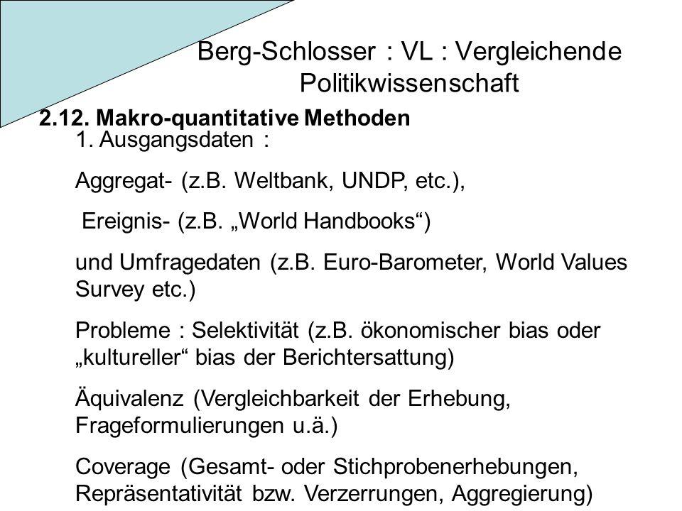 Berg-Schlosser : VL : Vergleichende Politikwissenschaft 2.12. Makro-quantitative Methoden 1. Ausgangsdaten : Aggregat- (z.B. Weltbank, UNDP, etc.), Er
