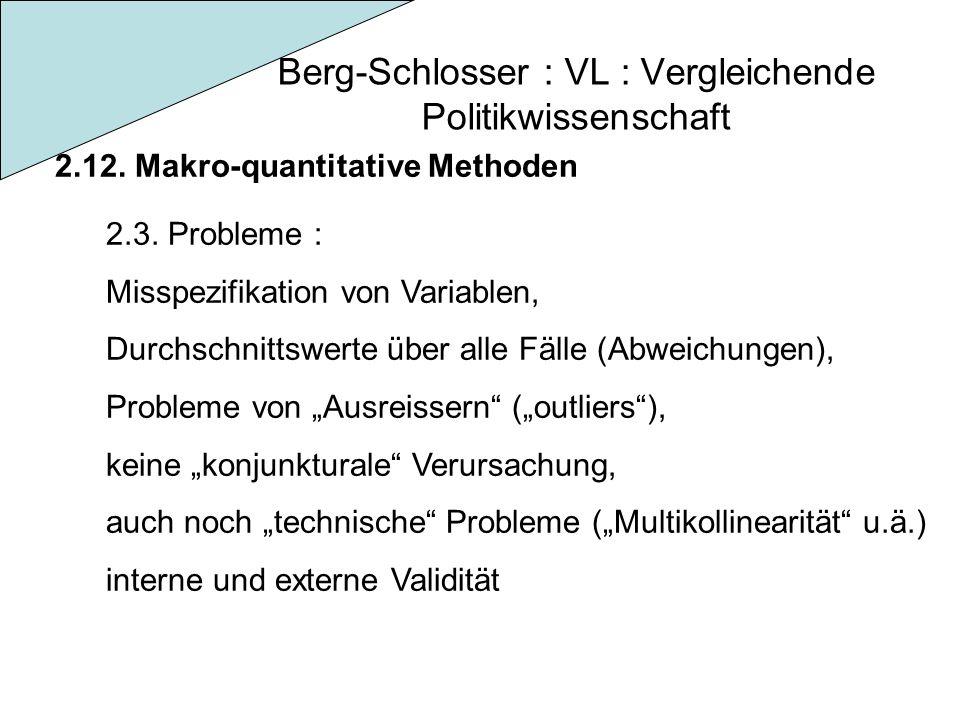 Berg-Schlosser : VL : Vergleichende Politikwissenschaft 2.12. Makro-quantitative Methoden 2.3. Probleme : Misspezifikation von Variablen, Durchschnitt