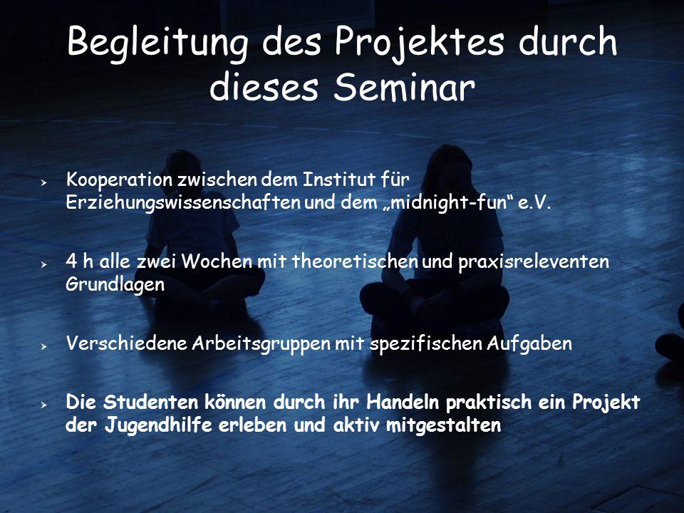 """Begleitung des Projektes durch dieses Seminar  Kooperation zwischen dem Institut für Erziehungswissenschaften und dem """"midnight-fun"""" e.V.  4 h alle"""