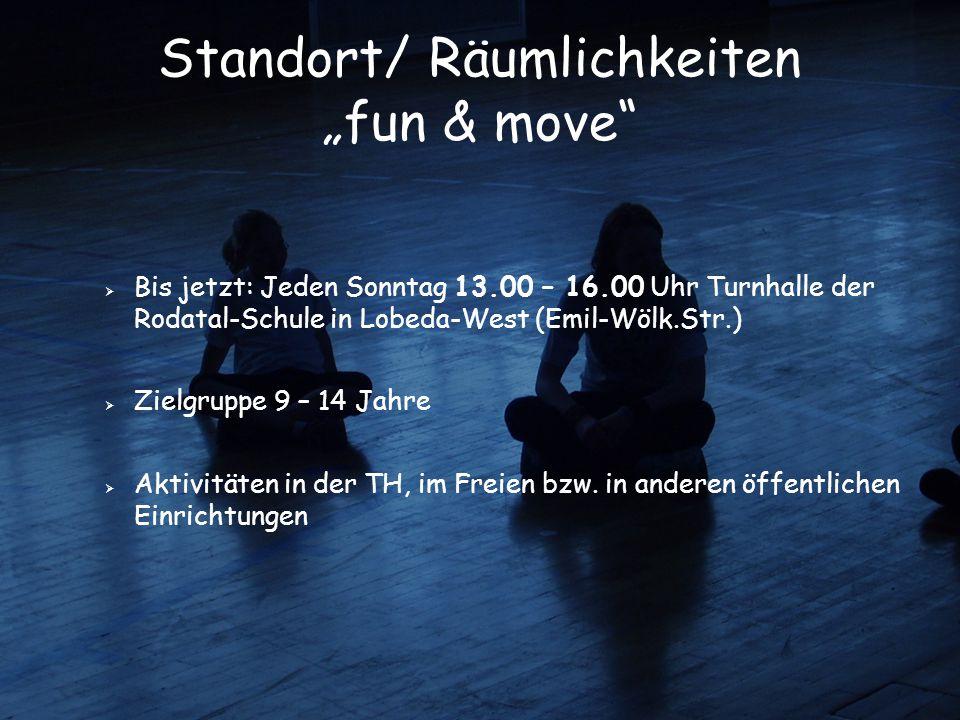 """Standort/ Räumlichkeiten """"fun & move""""  Bis jetzt: Jeden Sonntag 13.00 – 16.00 Uhr Turnhalle der Rodatal-Schule in Lobeda-West (Emil-Wölk.Str.)   Zi"""