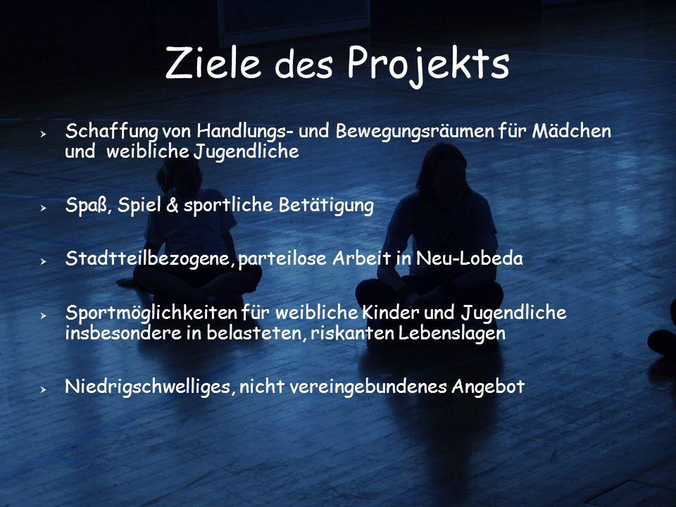 Ziele des Projekts  Schaffung von Handlungs- und Bewegungsräumen für Mädchen und weibliche Jugendliche  Spaß, Spiel & sportliche Betätigung  Stadtt