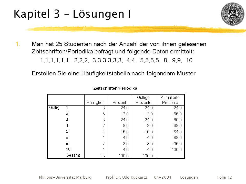 Philipps-Universität Marburg Prof. Dr. Udo Kuckartz 04-2004 LösungenFolie 12 Kapitel 3 – Lösungen I 1.Man hat 25 Studenten nach der Anzahl der von ihn