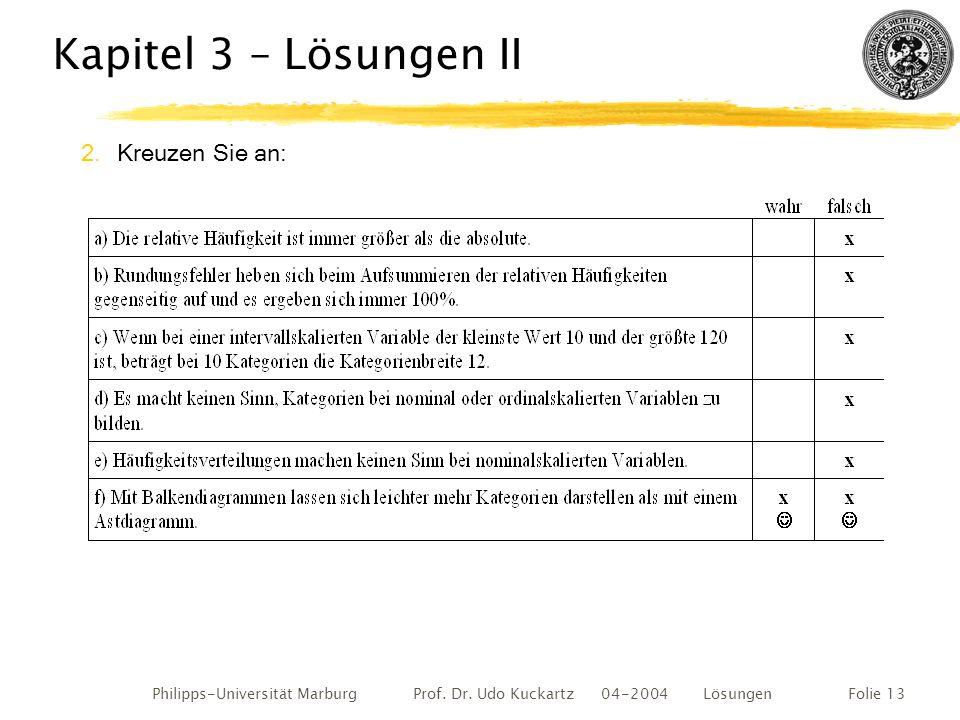 Philipps-Universität Marburg Prof. Dr. Udo Kuckartz 04-2004 LösungenFolie 13 Kapitel 3 – Lösungen II 2.Kreuzen Sie an: