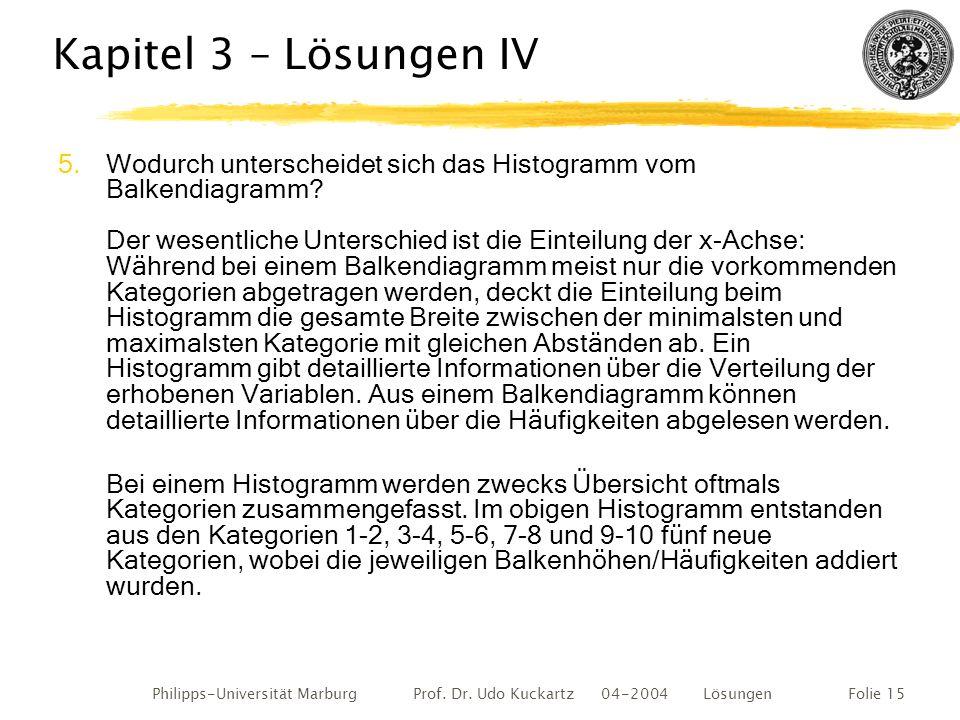Philipps-Universität Marburg Prof. Dr. Udo Kuckartz 04-2004 LösungenFolie 15 Kapitel 3 – Lösungen IV 5.Wodurch unterscheidet sich das Histogramm vom B