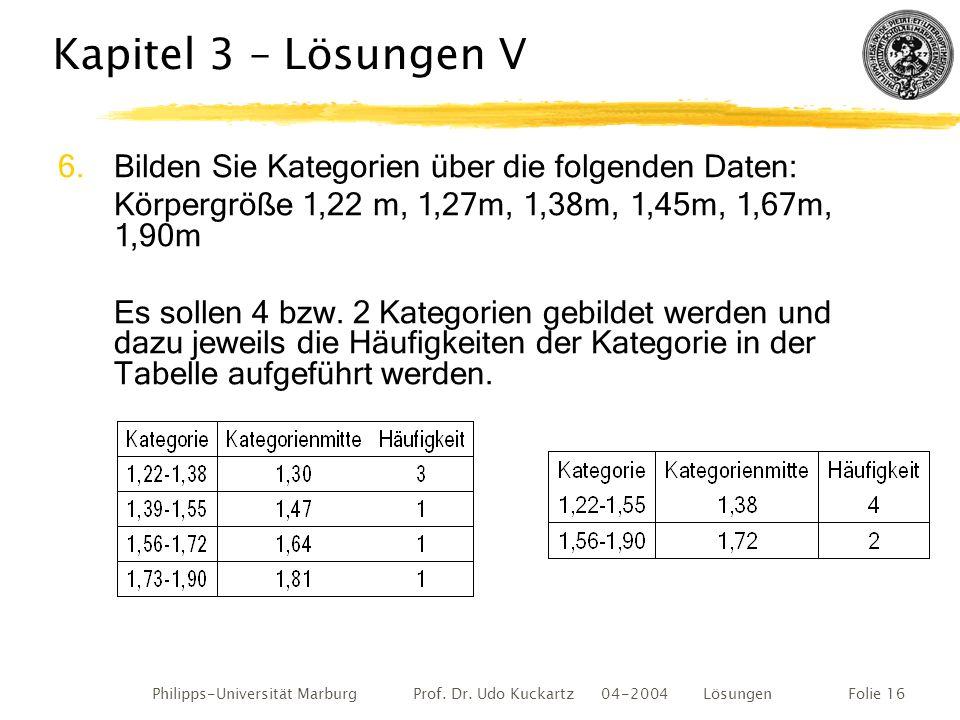 Philipps-Universität Marburg Prof. Dr. Udo Kuckartz 04-2004 LösungenFolie 16 Kapitel 3 – Lösungen V 6.Bilden Sie Kategorien über die folgenden Daten: