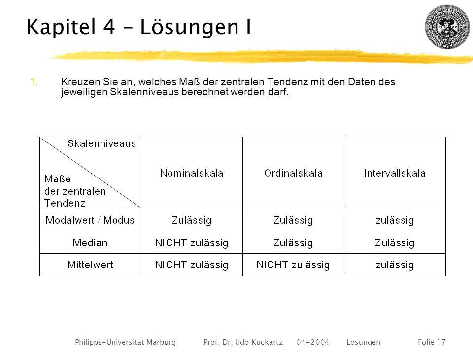Philipps-Universität Marburg Prof. Dr. Udo Kuckartz 04-2004 LösungenFolie 17 Kapitel 4 – Lösungen I 1.Kreuzen Sie an, welches Maß der zentralen Tenden