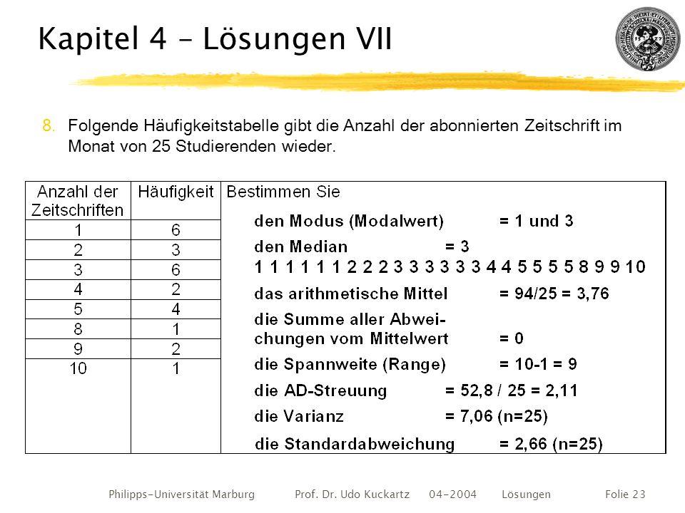 Philipps-Universität Marburg Prof. Dr. Udo Kuckartz 04-2004 LösungenFolie 23 Kapitel 4 – Lösungen VII 8.Folgende Häufigkeitstabelle gibt die Anzahl de