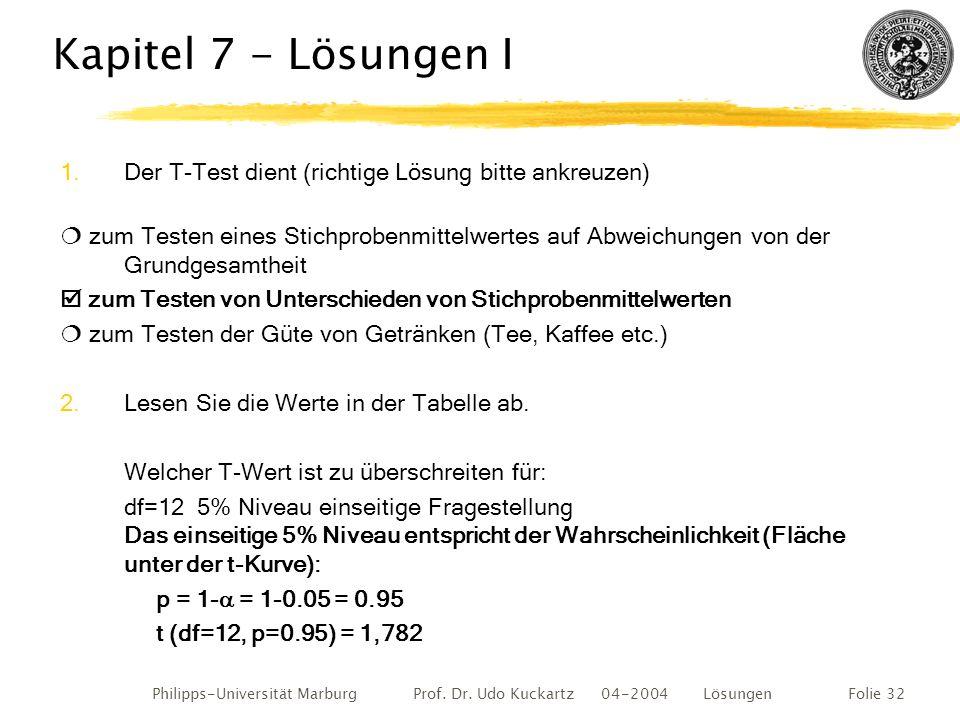 Philipps-Universität Marburg Prof. Dr. Udo Kuckartz 04-2004 LösungenFolie 32 Kapitel 7 - Lösungen I 1.Der T-Test dient (richtige Lösung bitte ankreuze