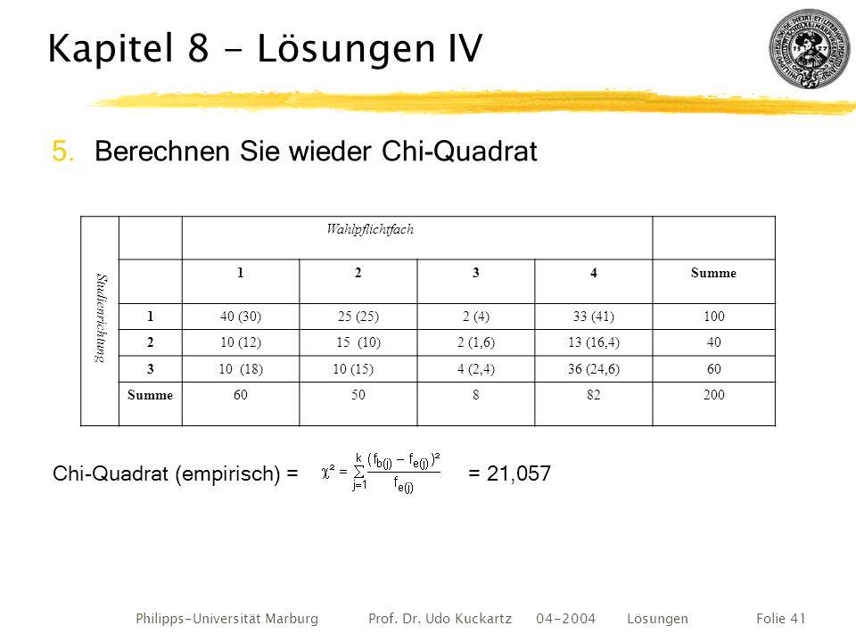 Philipps-Universität Marburg Prof. Dr. Udo Kuckartz 04-2004 LösungenFolie 41 Kapitel 8 - Lösungen IV 5.Berechnen Sie wieder Chi-Quadrat Chi-Quadrat (e
