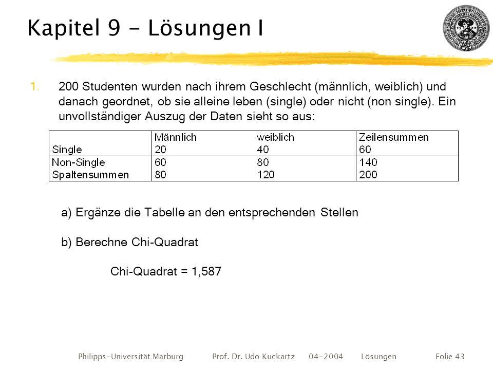 Philipps-Universität Marburg Prof. Dr. Udo Kuckartz 04-2004 LösungenFolie 43 Kapitel 9 - Lösungen I 1.200 Studenten wurden nach ihrem Geschlecht (männ