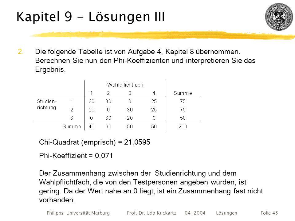 Philipps-Universität Marburg Prof. Dr. Udo Kuckartz 04-2004 LösungenFolie 45 Kapitel 9 - Lösungen III 2.Die folgende Tabelle ist von Aufgabe 4, Kapite