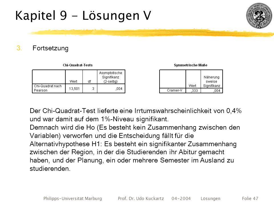 Philipps-Universität Marburg Prof. Dr. Udo Kuckartz 04-2004 LösungenFolie 47 Kapitel 9 - Lösungen V 3.Fortsetzung Der Chi-Quadrat-Test lieferte eine I
