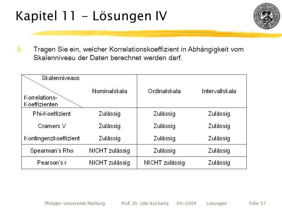 Philipps-Universität Marburg Prof. Dr. Udo Kuckartz 04-2004 LösungenFolie 57 Kapitel 11 - Lösungen IV 5.Tragen Sie ein, welcher Korrelationskoeffizien