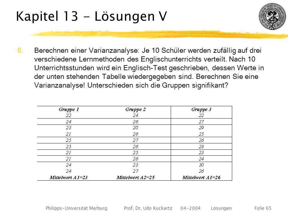 Philipps-Universität Marburg Prof. Dr. Udo Kuckartz 04-2004 LösungenFolie 65 Kapitel 13 - Lösungen V 6.Berechnen einer Varianzanalyse: Je 10 Schüler w