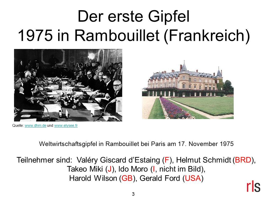 3 Der erste Gipfel 1975 in Rambouillet (Frankreich) Weltwirtschaftsgipfel in Rambouillet bei Paris am 17. November 1975 Teilnehmer sind: Valéry Giscar