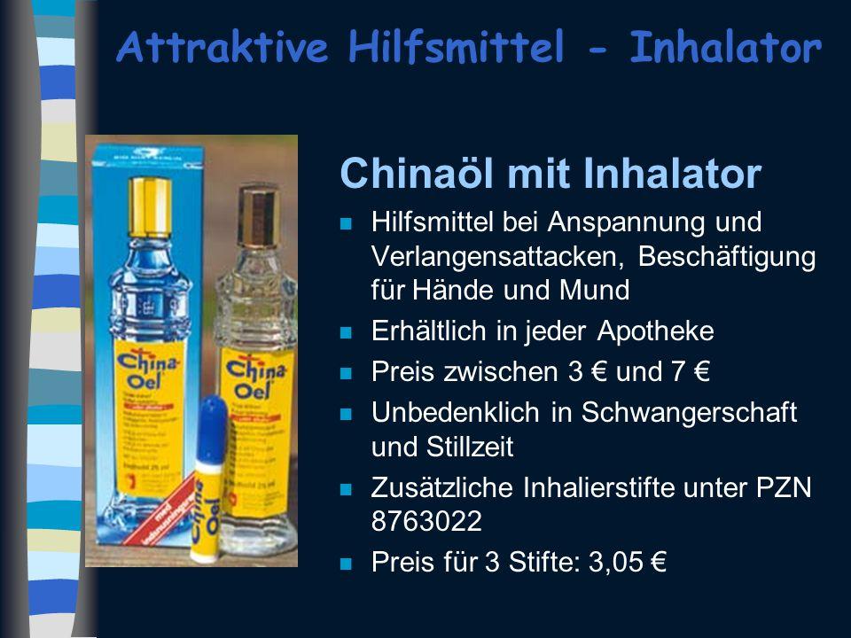 Attraktive Hilfsmittel - Inhalator Chinaöl mit Inhalator n Hilfsmittel bei Anspannung und Verlangensattacken, Beschäftigung für Hände und Mund n Erhäl