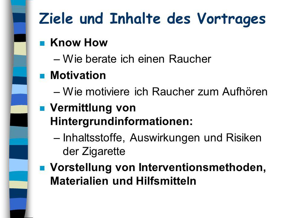 Ziele und Inhalte des Vortrages n Know How –Wie berate ich einen Raucher n Motivation –Wie motiviere ich Raucher zum Aufhören n Vermittlung von Hinter