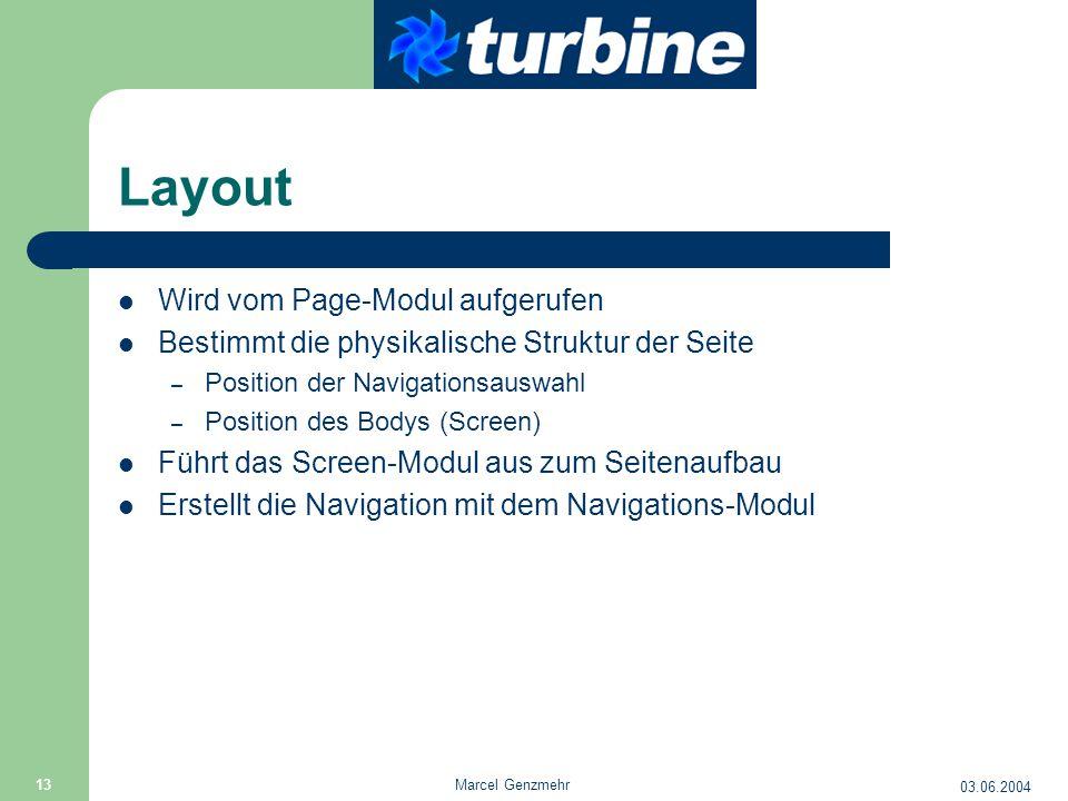 03.06.2004 Marcel Genzmehr 13 Layout Wird vom Page-Modul aufgerufen Bestimmt die physikalische Struktur der Seite – Position der Navigationsauswahl –