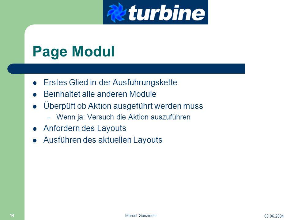 03.06.2004 Marcel Genzmehr 14 Page Modul Erstes Glied in der Ausführungskette Beinhaltet alle anderen Module Überpüft ob Aktion ausgeführt werden muss