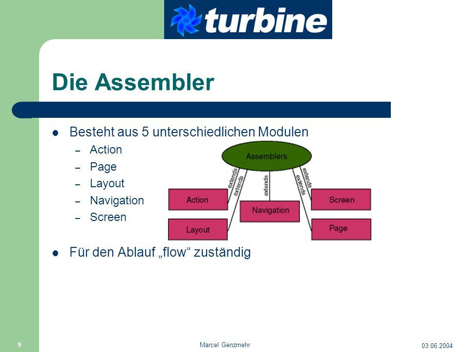 """03.06.2004 Marcel Genzmehr 9 Die Assembler Besteht aus 5 unterschiedlichen Modulen – Action – Page – Layout – Navigation – Screen Für den Ablauf """"flow"""