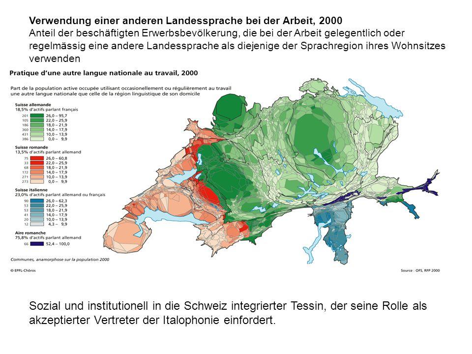 Sozial und institutionell in die Schweiz integrierter Tessin, der seine Rolle als akzeptierter Vertreter der Italophonie einfordert.