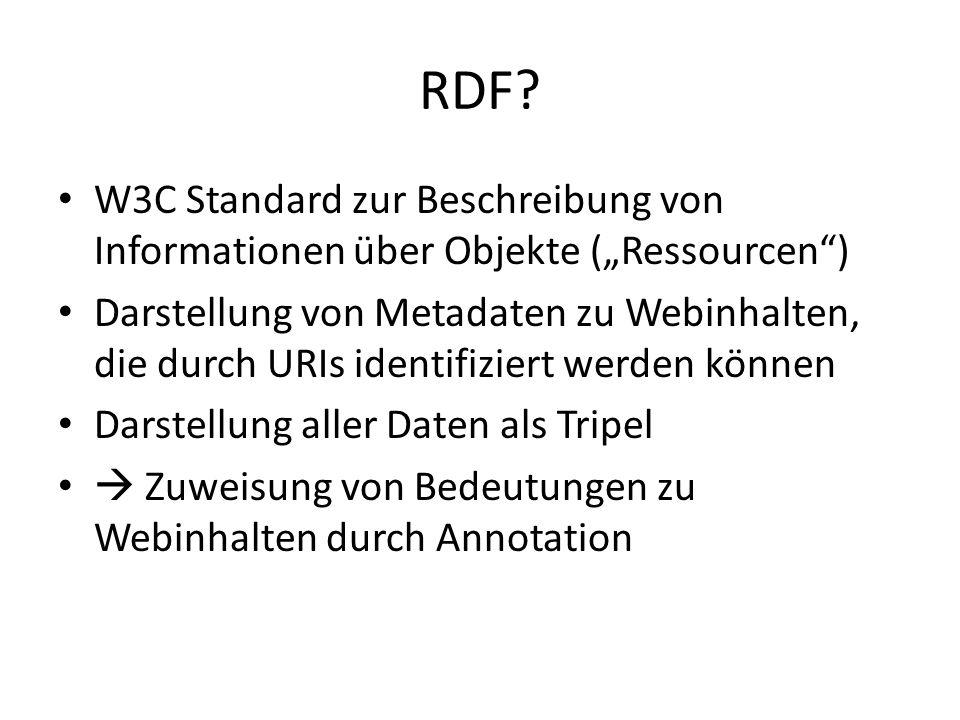 """RDF? W3C Standard zur Beschreibung von Informationen über Objekte (""""Ressourcen"""") Darstellung von Metadaten zu Webinhalten, die durch URIs identifizier"""
