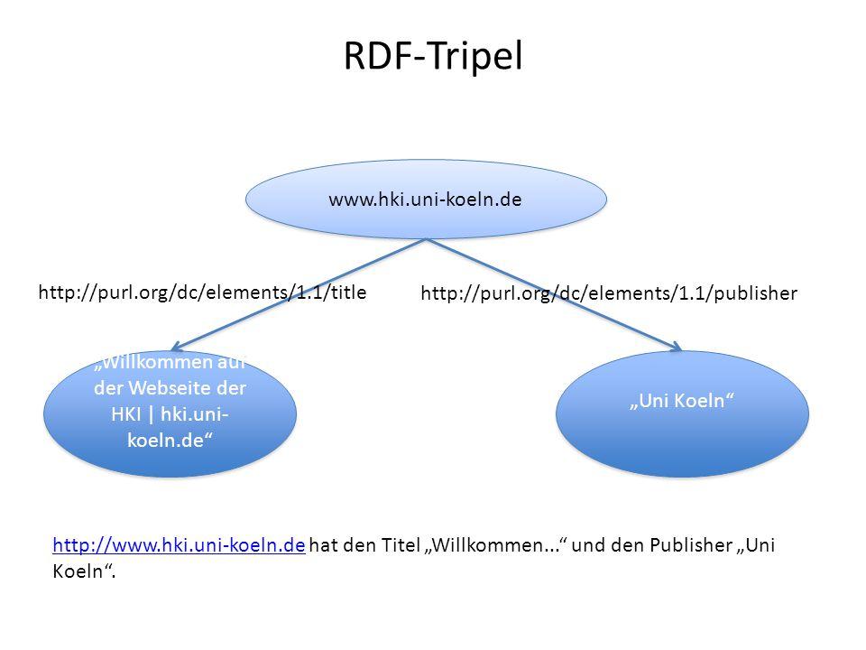 "RDF-Tripel www.hki.uni-koeln.de ""Willkommen auf der Webseite der HKI | hki.uni- koeln.de"" http://purl.org/dc/elements/1.1/title ""Uni Koeln"" http://pur"