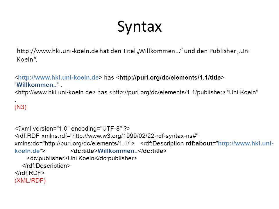 "Syntax has ""Willkommen.."". has ""Uni Koeln"". (N3) http://www.hki.uni-koeln.de hat den Titel ""Willkommen..."" und den Publisher ""Uni Koeln"". Willkommen.."