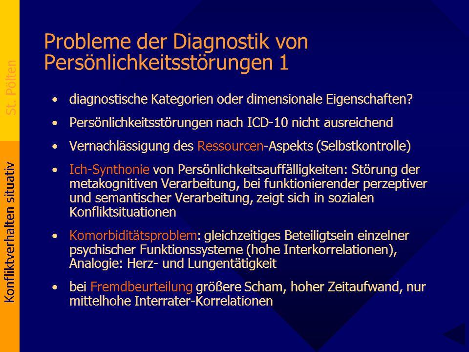 Konfliktverhalten situativ St. Pölten Probleme der Diagnostik von Persönlichkeitsstörungen 1 diagnostische Kategorien oder dimensionale Eigenschaften?