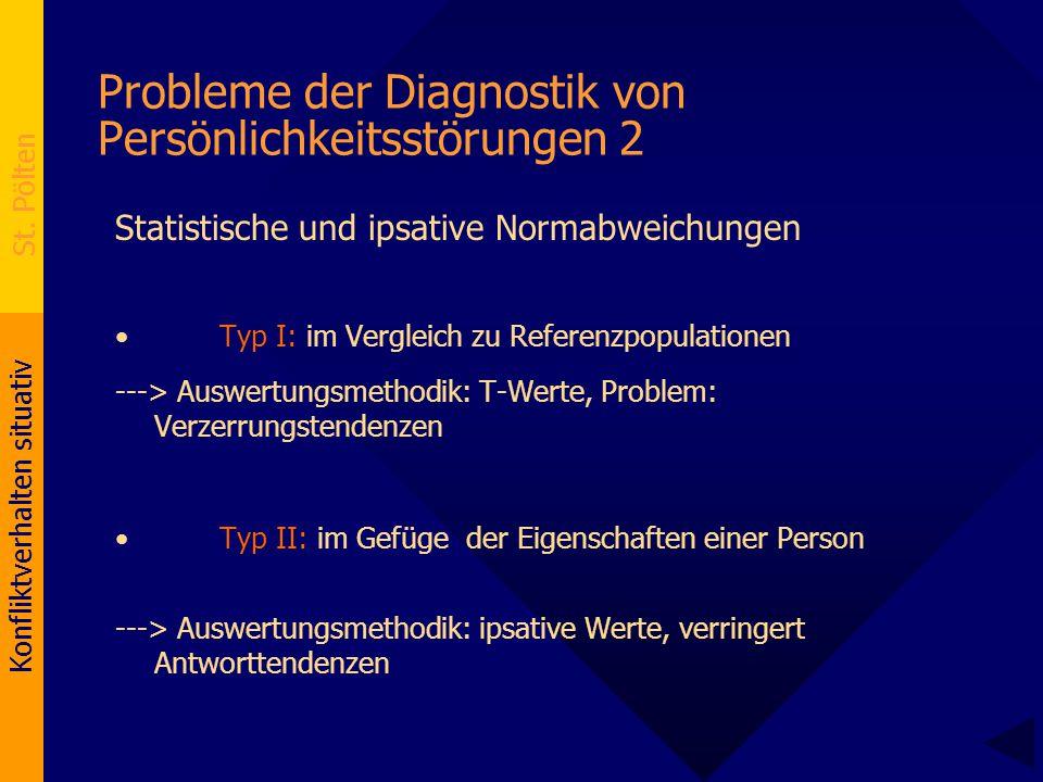 Konfliktverhalten situativ St. Pölten Probleme der Diagnostik von Persönlichkeitsstörungen 2 Statistische und ipsative Normabweichungen Typ I: im Verg