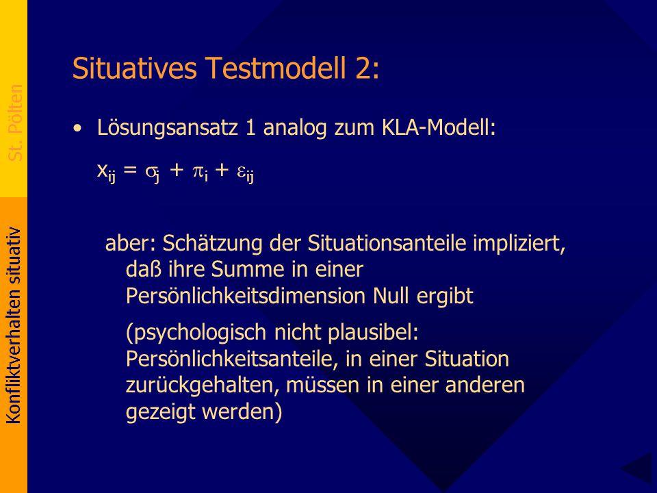 Konfliktverhalten situativ St. Pölten Situatives Testmodell 2: Lösungsansatz 1 analog zum KLA-Modell: x ij =  j +  i +  ij aber: Schätzung der Situ