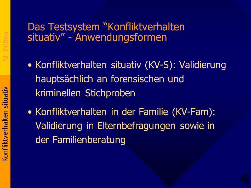 """Konfliktverhalten situativ St. Pölten Das Testsystem """"Konfliktverhalten situativ"""" - Anwendungsformen Konfliktverhalten situativ (KV-S): Validierung ha"""