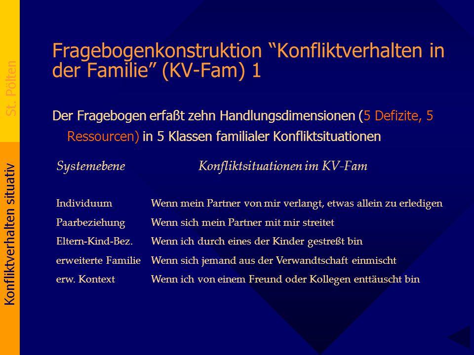 """Konfliktverhalten situativ St. Pölten Fragebogenkonstruktion """"Konfliktverhalten in der Familie"""" (KV-Fam) 1 Der Fragebogen erfaßt zehn Handlungsdimensi"""