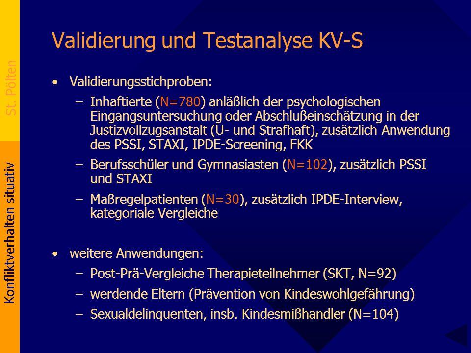 Konfliktverhalten situativ St. Pölten Validierung und Testanalyse KV-S Validierungsstichproben: –Inhaftierte (N=780) anläßlich der psychologischen Ein
