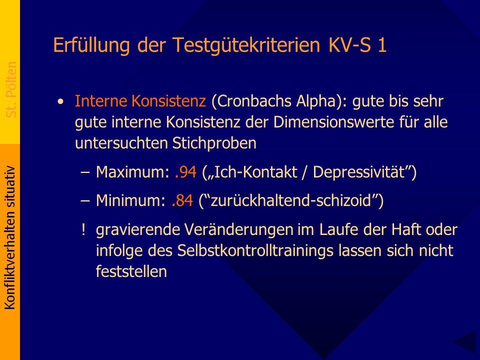 Konfliktverhalten situativ St. Pölten Erfüllung der Testgütekriterien KV-S 1 Interne Konsistenz (Cronbachs Alpha): gute bis sehr gute interne Konsiste