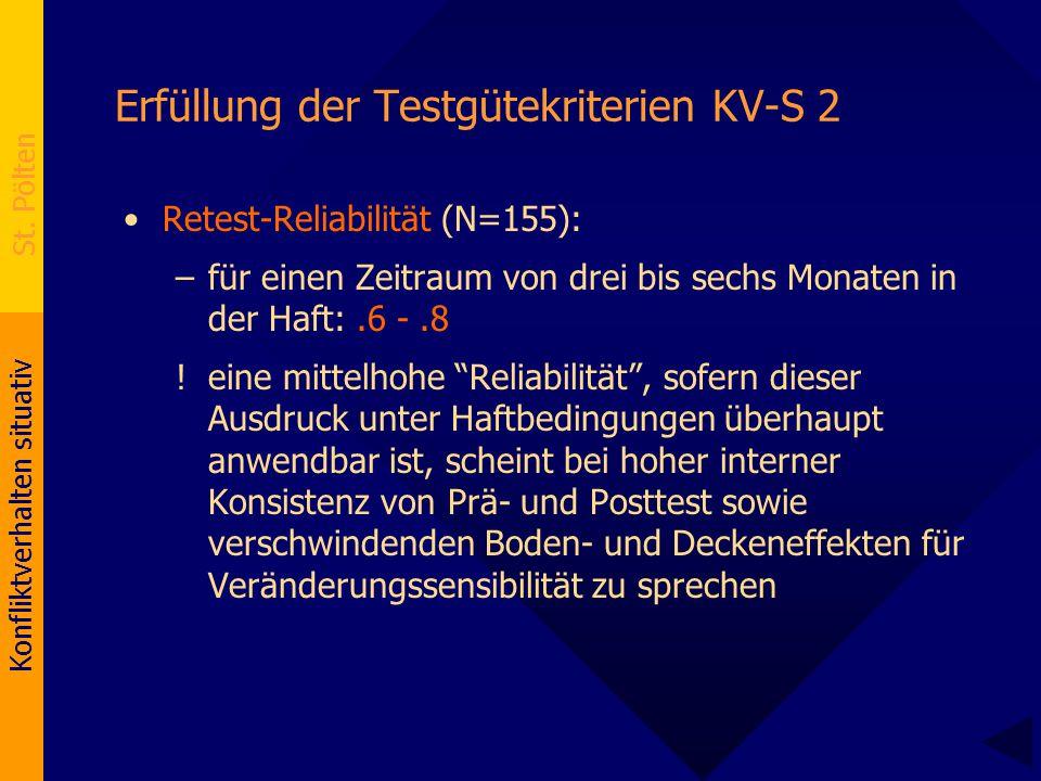 Konfliktverhalten situativ St. Pölten Erfüllung der Testgütekriterien KV-S 2 Retest-Reliabilität (N=155): –für einen Zeitraum von drei bis sechs Monat