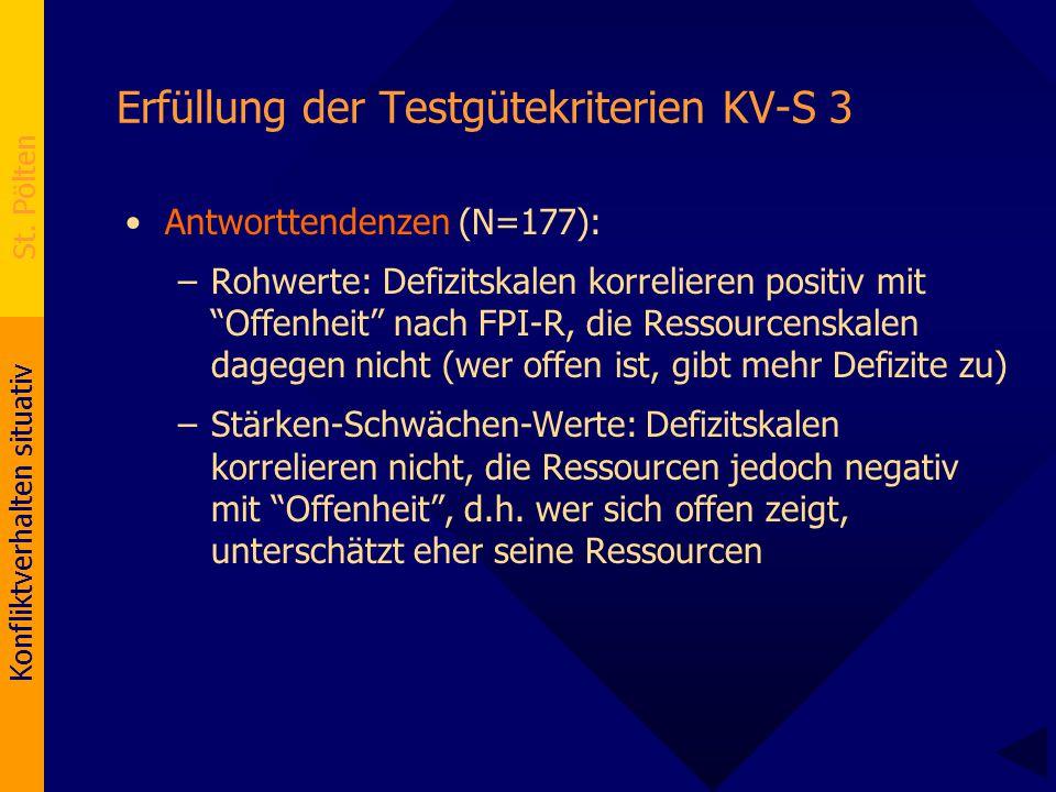 Konfliktverhalten situativ St. Pölten Erfüllung der Testgütekriterien KV-S 3 Antworttendenzen (N=177): –Rohwerte: Defizitskalen korrelieren positiv mi