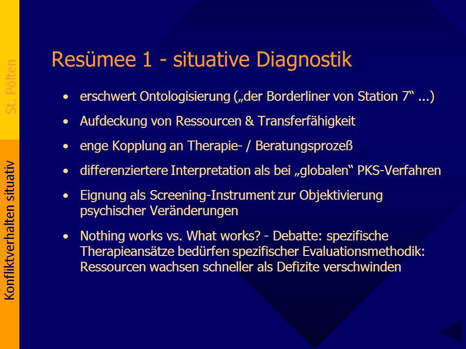 """Konfliktverhalten situativ St. Pölten Resümee 1 - situative Diagnostik erschwert Ontologisierung (""""der Borderliner von Station 7""""...) Aufdeckung von R"""