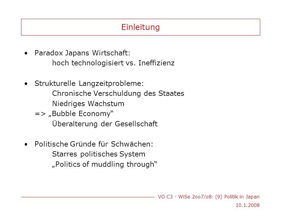 VO C3 - WiSe 2oo7/o8: (9) Politik in Japan 10.1.2008 Bürokratie Bürokratie als eigentliche Machtträger Politiker als Vermittler zwischen Interessen von Bürokraten, Wählern und Interessensgruppen enge Verflechtung mit LDP sog.