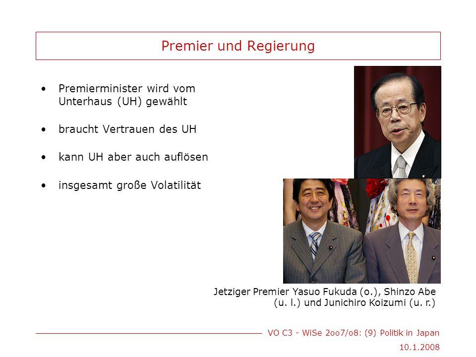 VO C3 - WiSe 2oo7/o8: (9) Politik in Japan 10.1.2008 Premier und Regierung Premierminister wird vom Unterhaus (UH) gewählt braucht Vertrauen des UH kann UH aber auch auflösen insgesamt große Volatilität Jetziger Premier Yasuo Fukuda (o.), Shinzo Abe (u.