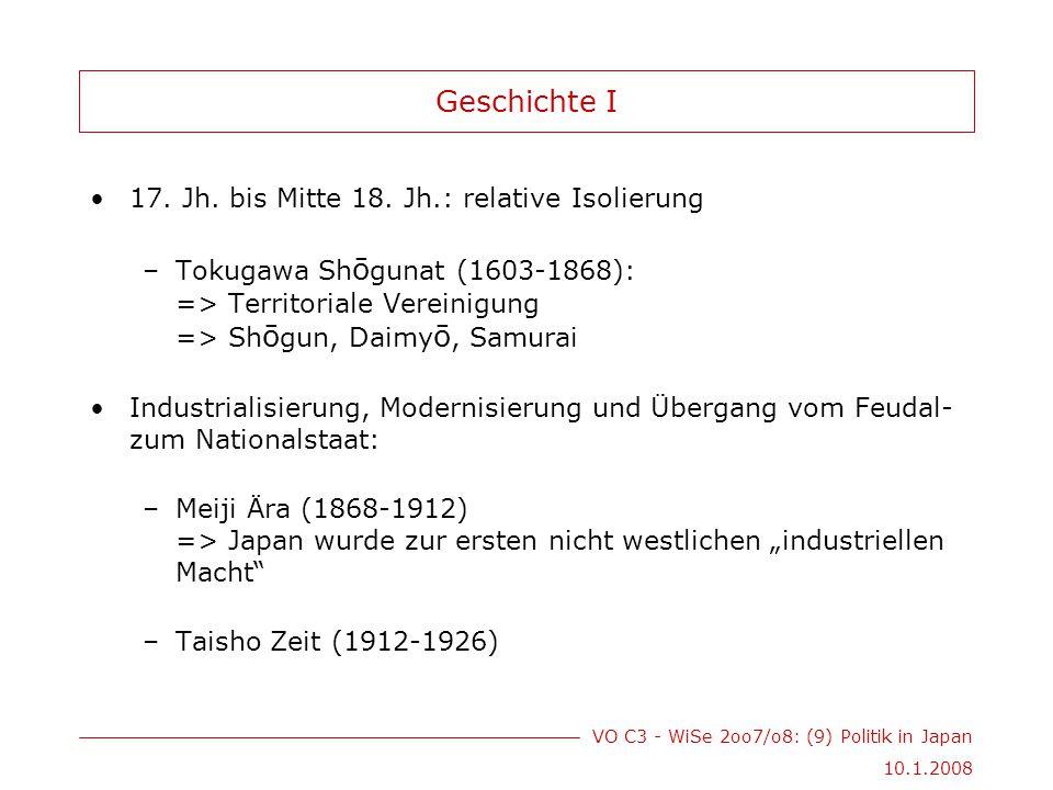 VO C3 - WiSe 2oo7/o8: (9) Politik in Japan 10.1.2008 Geschichte II Zunehmende Militarisierung: begann 1931 mit Besetzung der Mandschurei und endete mit der Kapitulation am 2.9.1945 (Ende des 2.