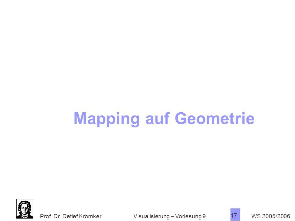 Prof. Dr. Detlef Krömker WS 2005/2006 17 Visualisierung – Vorlesung 9 Mapping auf Geometrie