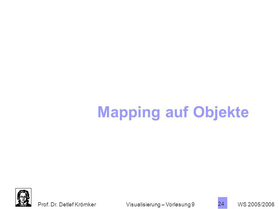Prof. Dr. Detlef Krömker WS 2005/2006 24 Visualisierung – Vorlesung 9 Mapping auf Objekte