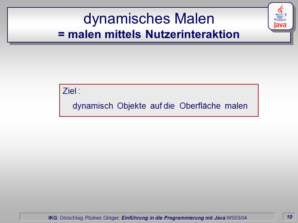 10 Dörschlag IKG; Dörschlag, Plümer, Gröger; Einführung in die Programmierung mit Java WS03/04 dynamisches Malen = malen mittels Nutzerinteraktion dynamisch Objekte auf die Oberfläche malen Ziel :