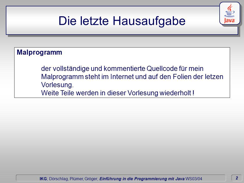 2 Dörschlag IKG; Dörschlag, Plümer, Gröger; Einführung in die Programmierung mit Java WS03/04 Malprogramm der vollständige und kommentierte Quellcode für mein Malprogramm steht im Internet und auf den Folien der letzen Vorlesung.