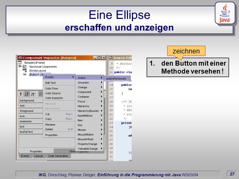 27 Dörschlag IKG; Dörschlag, Plümer, Gröger; Einführung in die Programmierung mit Java WS03/04 Eine Ellipse erschaffen und anzeigen 1.den Button mit einer Methode versehen .